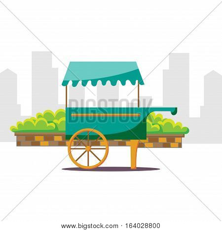 Cute cartoon street food vending cart vector illustration.