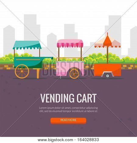 Cute cartoon street food vending cart vector banner