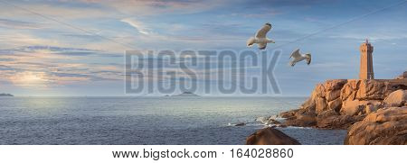 Panoramic landscape of Mean Ruz Lighthouse and pink granite coast in Ploumanac'h near Perros-Guirec in Brittany Famous Place in France poster