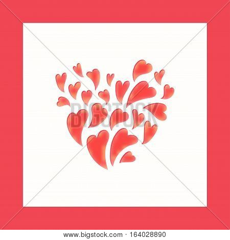 Vector template for laser cutting. Can be used as invitation envelope greeting card. Paper craft silhouette. Openwork square frame with hearts for St. Valentine Day
