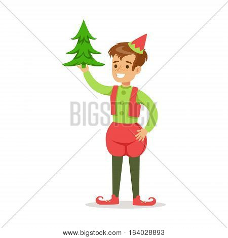 Boy With Christmas Tree Dressed As Santa Claus Christmas Elf For The Costume Holiday Carnival Party. Happy Kid In Holyday Disguises Vector Cartoon Illustration.