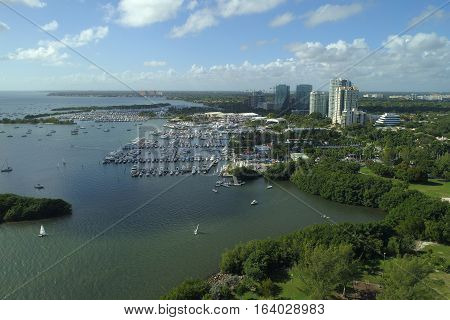 Aerial image of the Dinner Key Marina Coconut Grove Florida