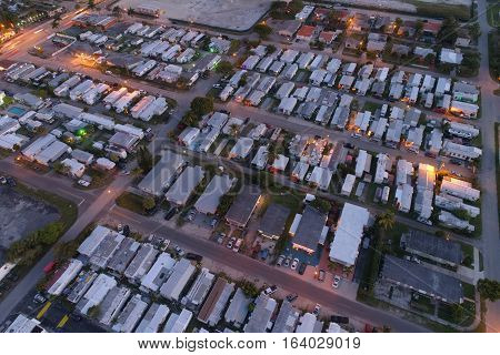 Aerial image trailer park mobile homes at night