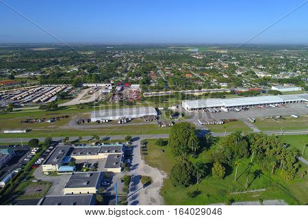 Aerial drone photo of Florida City en route to the Florida Keys