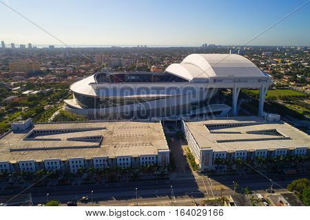 MIAMI - DECEMBER 28: Aerial image of the Marlins Park Baseball Stadium located at 501 Marlins Park Way and home to the Florida Marlins Baseball Team December 28, 2016 in Miami FL, USA