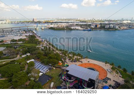 Aerial drone image of Bayfront Park Downtown Miami