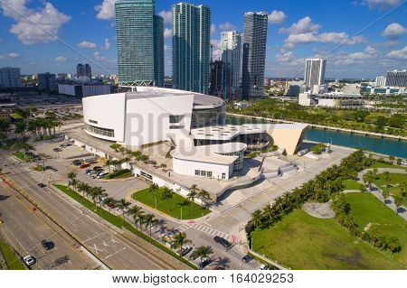 MIAMI - DECEMBER 25: Aerial photo of the American Airlines Arena at Downtown Miami home to the Miami Heat Basketball Team December 25, 2016 in Miami FL, USA