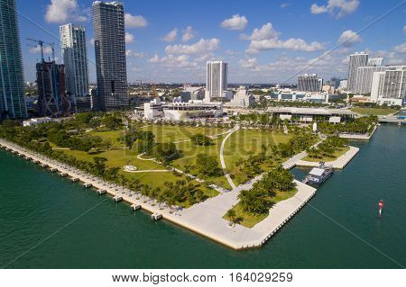 Aerial drone photo Museum Park Downtown Miami