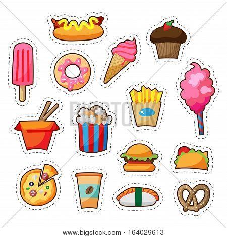 Cartoon street food path badge set with cute elements