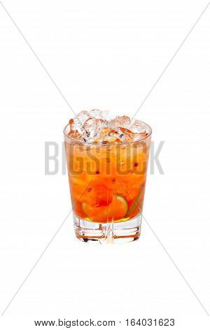Cold alcoholic cocktail isolated on a white background.