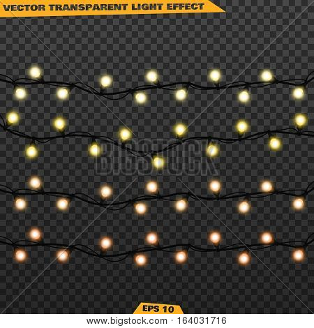 Christmas Lights Isolated Realistic Design Elements Vector