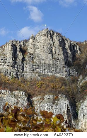 One high top of Lakatnik rocks with cross, Iskar river defile, Sofia province, Bulgaria