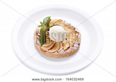 Apple piel with ice cream and mint