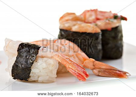 Tasty fresh japanese sushi   on a white background