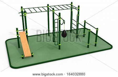 Parallel green bars with wood bench for press and punching bag at sports ground for workout on the white background