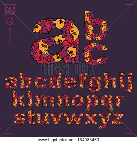 Ecology Style Flowery Font, Vector Typeset Made Using Natural Ornament. Alphabet Capital Letters Cre