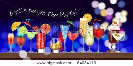 Vector set of stemware and glasses with cocktail
