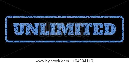 Blue rubber seal stamp with Unlimited text. Vector message inside rounded rectangular frame. Grunge design and dust texture for watermark labels. Horisontal sign on a black background.