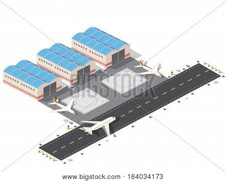 Isometric plan of the city airport flight of construction and building terminal planes and vector illustration.