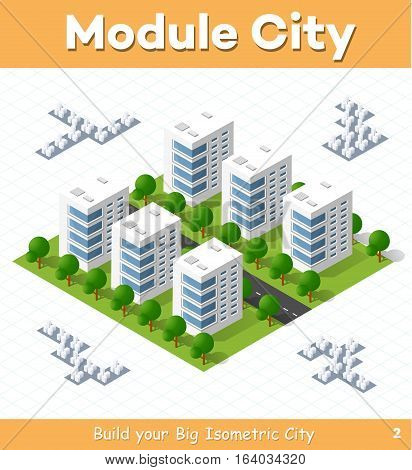 Urban module for the construction and design of large isometric city. Six town houses white with a street with trees