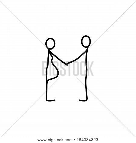Family stick figures icon over white background, vector illustration