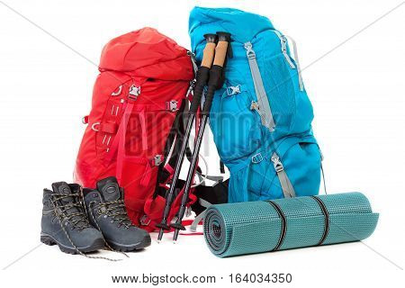 Hiking gear isolated on the  white background