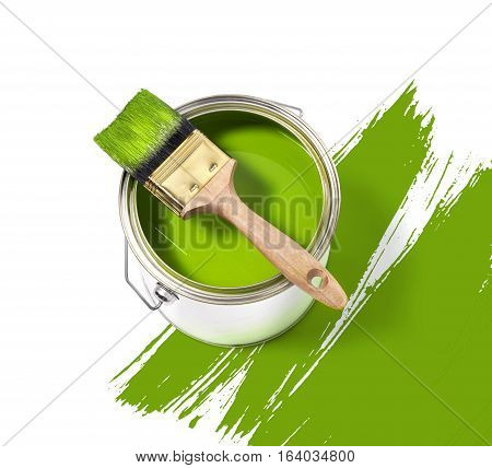Green paint tin can with brush on top on a white background with green strokes