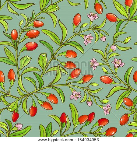 goji berries vector seamless pattern on color background