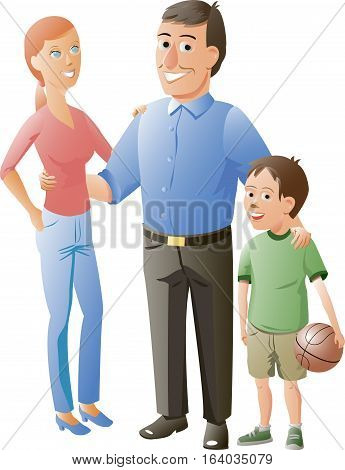 husband, wife and their son are smiling arm in arm. Son of holding a basketball