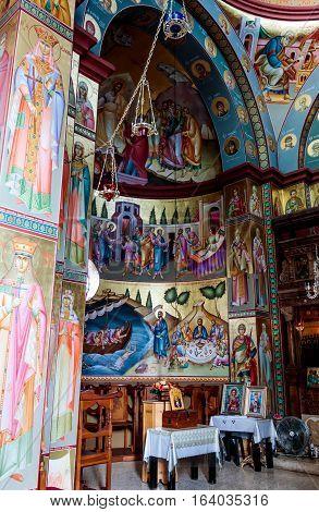 Capernaum (Cafarnaum), Israel - January 01, 2017 : Interior of the Greek Orthodox monastery of the twelve apostles in Capernaum (Cafarnaum).