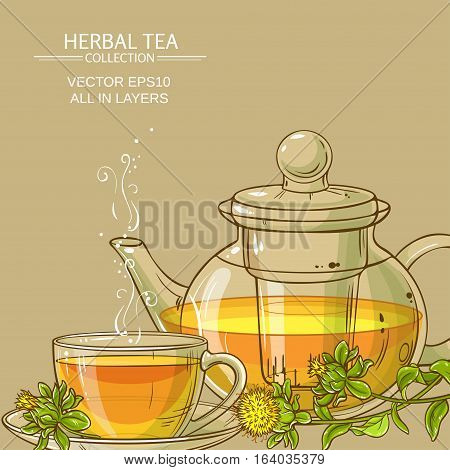 cup of safflower tea and teapot with safflower flowers