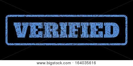 Blue rubber seal stamp with Verified text. Vector message inside rounded rectangular banner. Grunge design and unclean texture for watermark labels. Horisontal emblem on a black background.