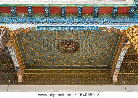 The Painted Ceiling Of The Veranda In The Memorial Complex Bahouddin Naqshbandi In Bukhara.