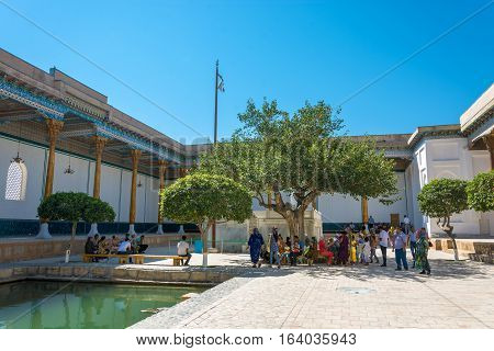 Bukhara Uzbekistan - August 20 2016: the courtyard in the memorial complex Bahouddin Naqshbandi August 20 2016 in Bukhara Uzbekistan.