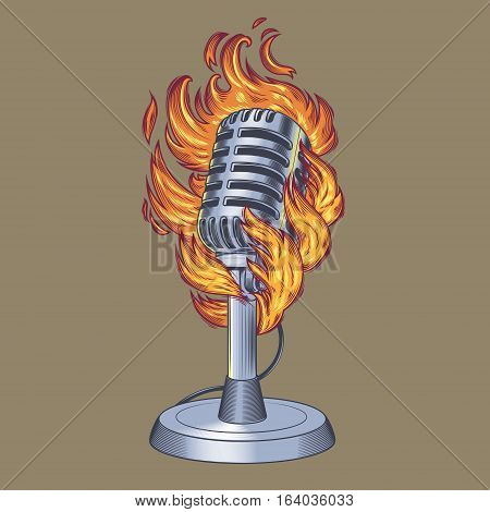 Vector illustration old microphone in flames, flaming microphone