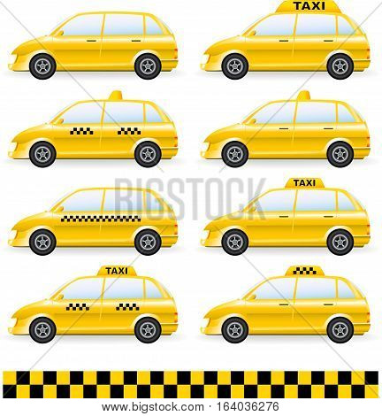 Set Of Isolated Taxi Car