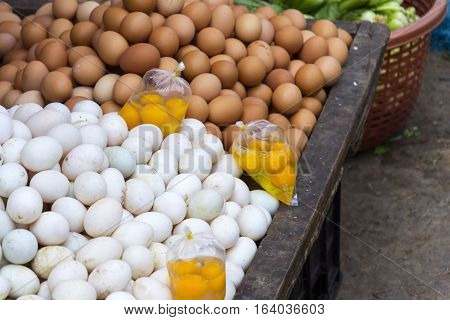 Eggs And Yolks For Vietnam Cuisine On My Tho Market