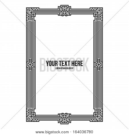 Art Deco Vertical Frame With Native American Elements On White Background. Monochrome Colors. Useful