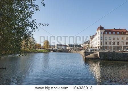 Canal in City of Gothenburg in Sweden