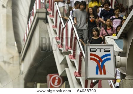 Bangkok , Thailand - August 5, 2008:  Crowd of travelers in the Bangkok Skytrain. The Skytrain was officially opened on 5 December 1999 by Princess Maha Chakri Sirindhorn. The system consists of 34 stations along 2 lines