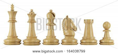 Set Of Chess Figures In Row
