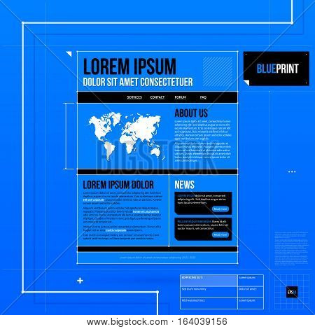 Web Site Template In Blueprint Style. Useful For Presentations And Advertising.
