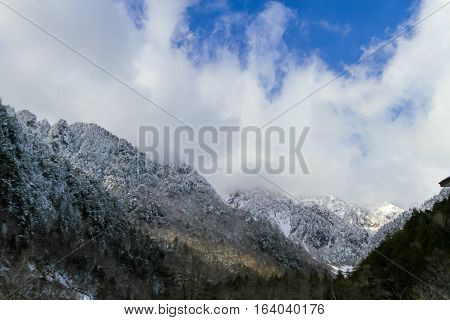 Northern Alps japan at Cable car station Shinhotaka Ropeway Takayama Gifu Japan