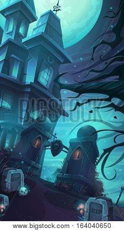 Cartoon vector illustration of a gloomy castle in the middle of the graves and skulls rip under a full moon