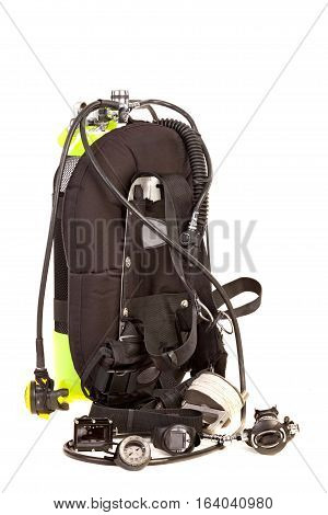Diving equipment .Isolated on white  background .