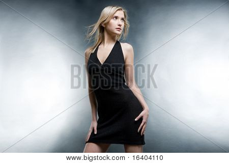 Portrait of the girl in a black dress