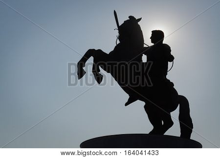 Silhouette of a monument of Alexander the Great in Skopje and clear sky