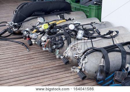 Diving equipment on the sea safari boat