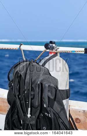 Diving equipment on board of the boat