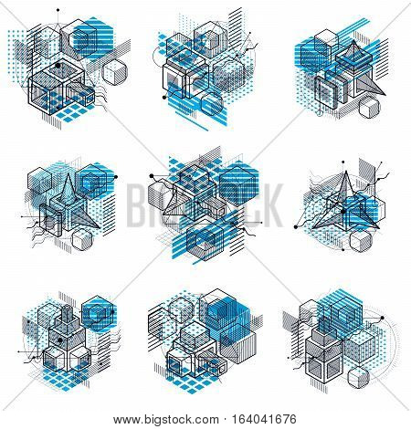 Abstract backgrounds with isometric lines vector illustrations. Templates made with cubes hexagons squares rectangles and different abstract elements. Vector set.